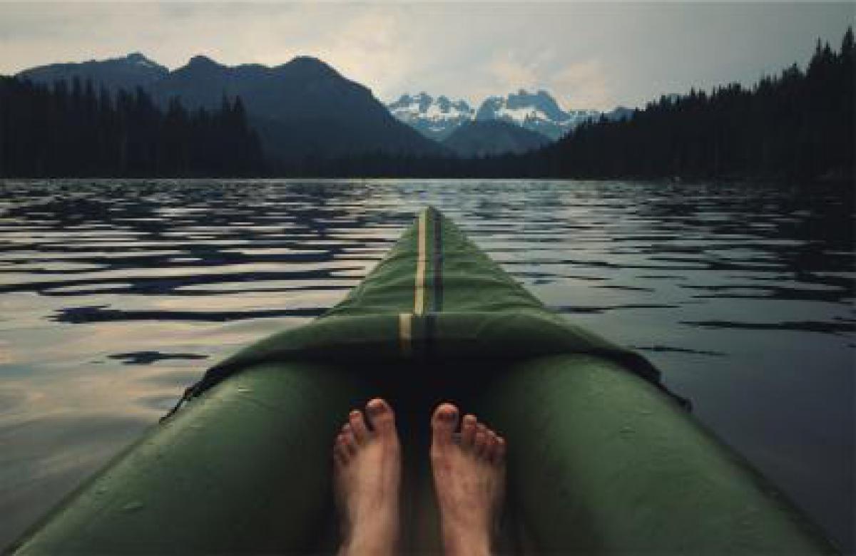 Landscape lake canoe  #16643
