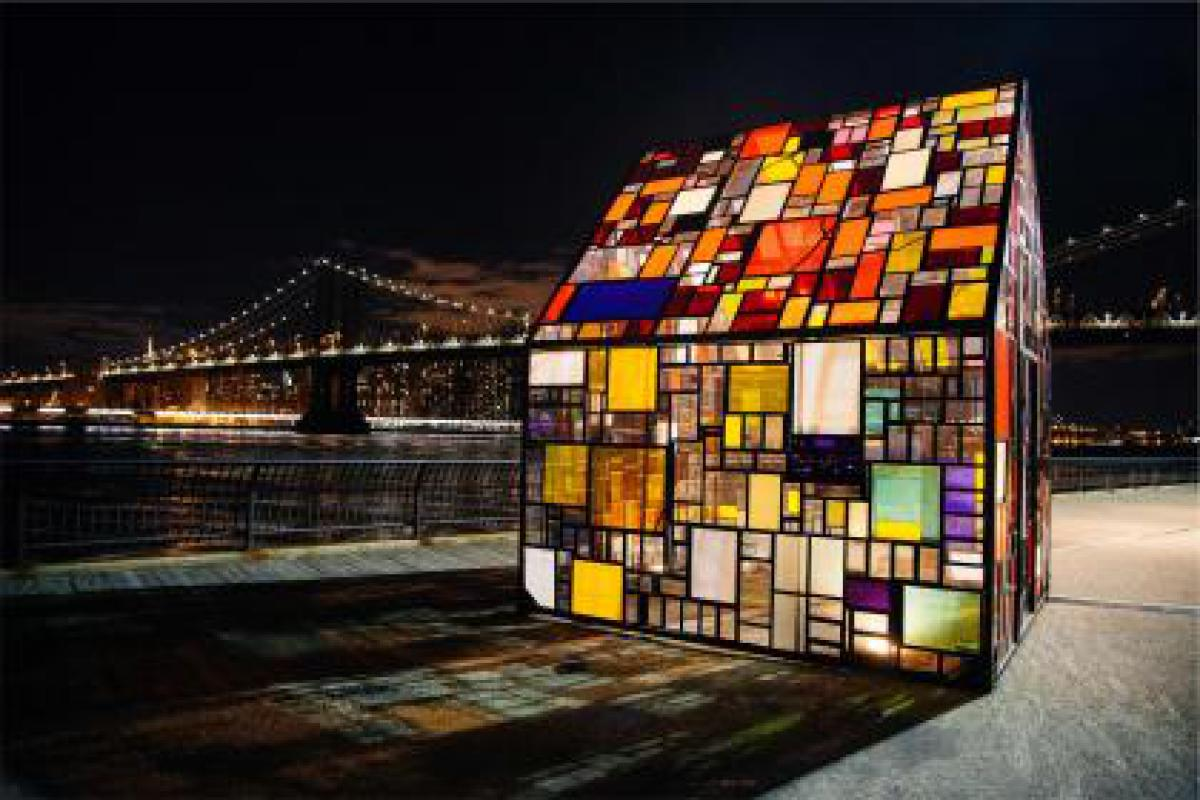 stained glass windows city urban