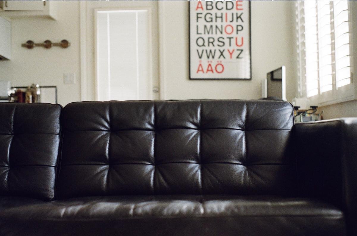 Leather couch house apartment  #18385