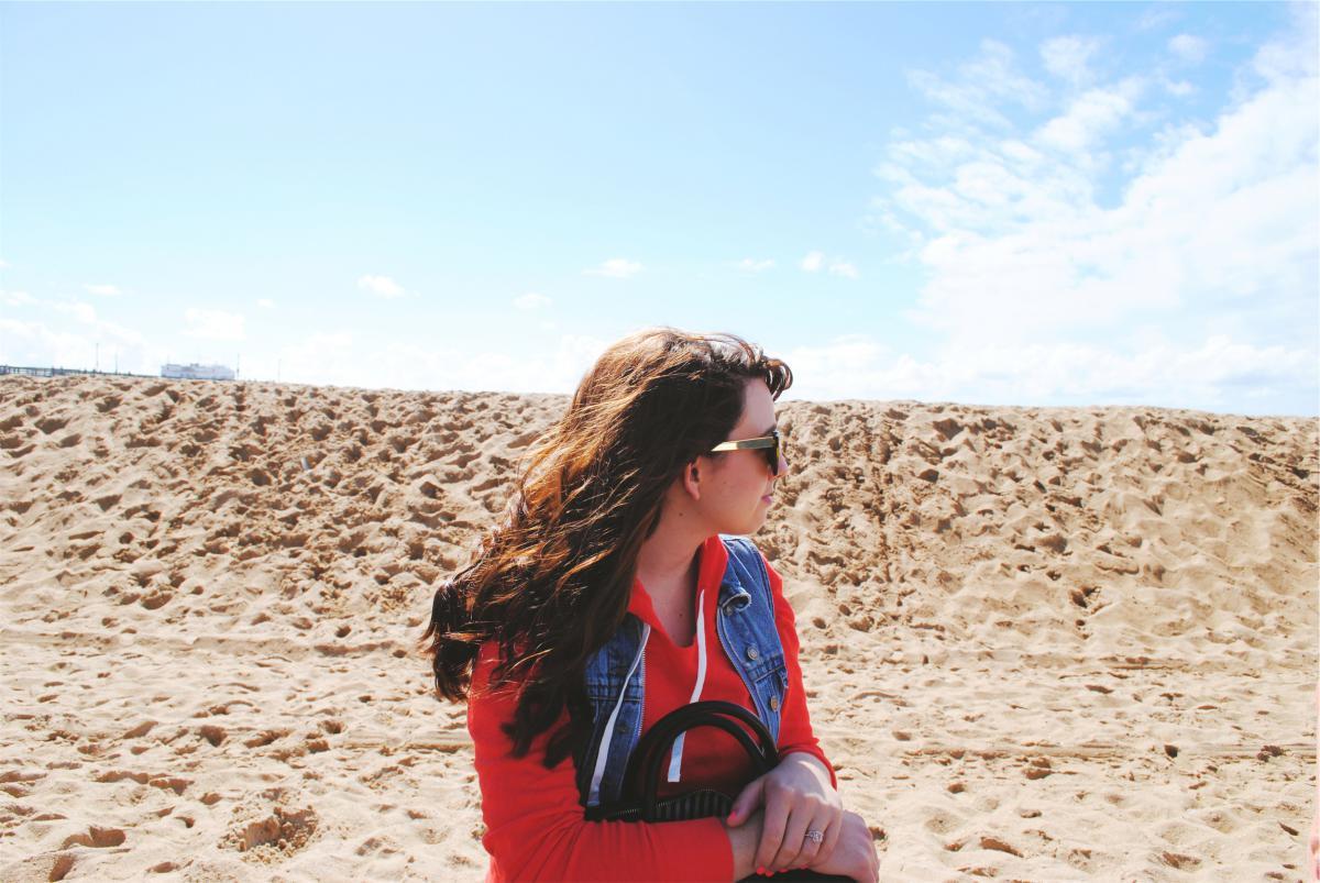girl beach sand