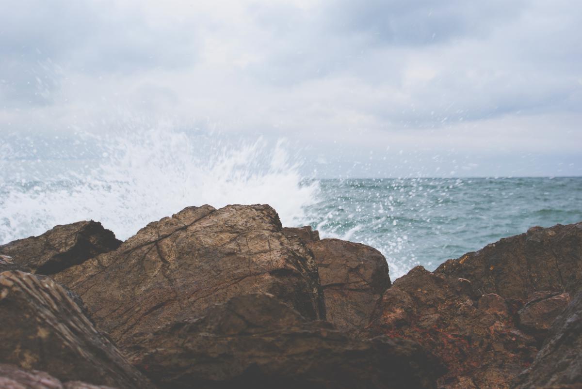 rocks boulders waves
