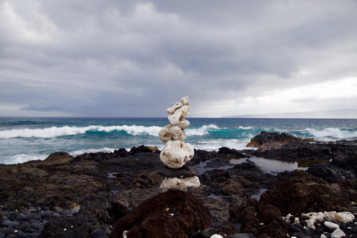rocks coast waves