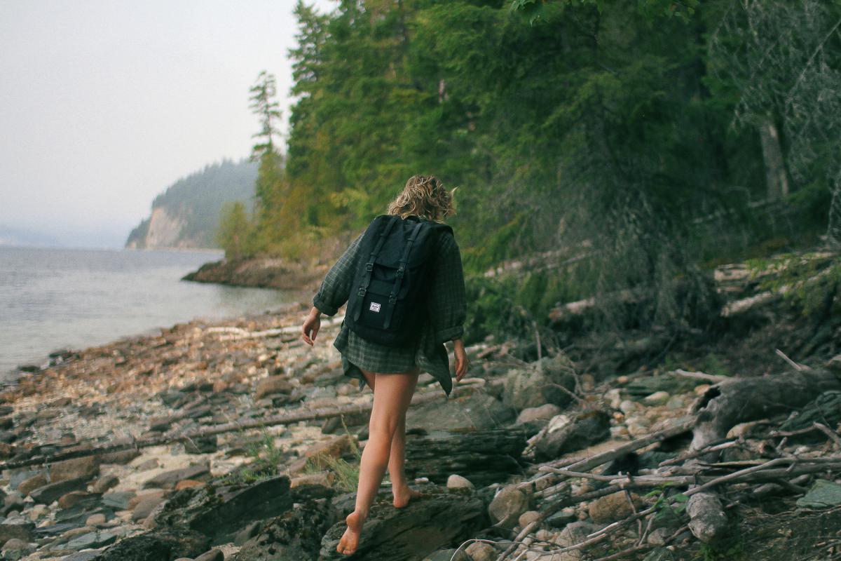 girl hiking trekking