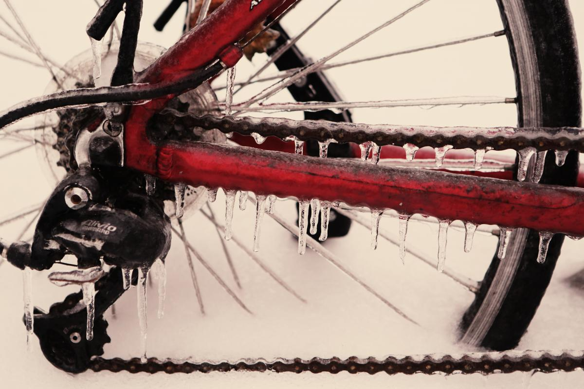 bicycle frozen ice