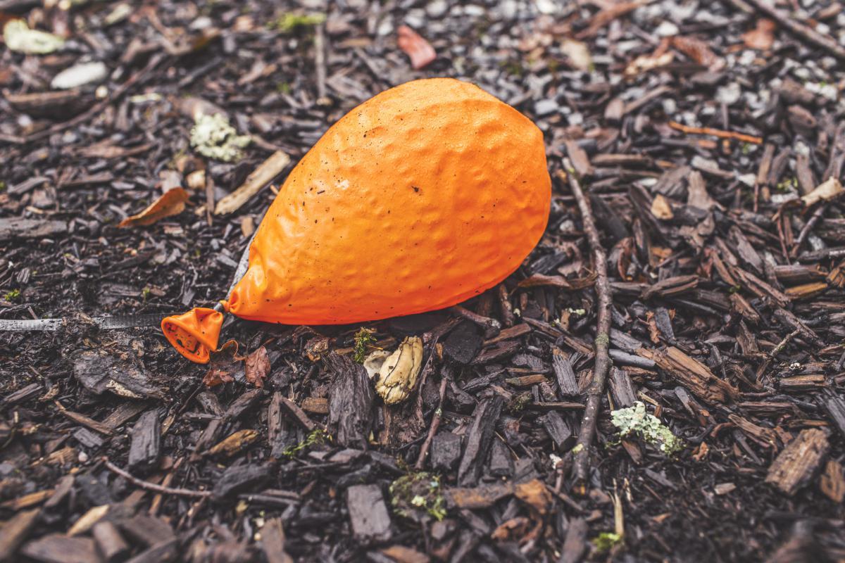 Orange balloon deflated