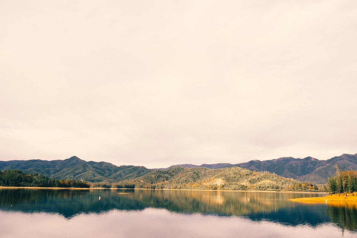 water lake mountains