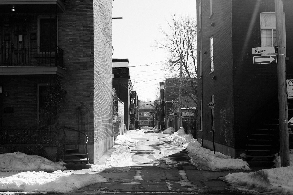street snow building