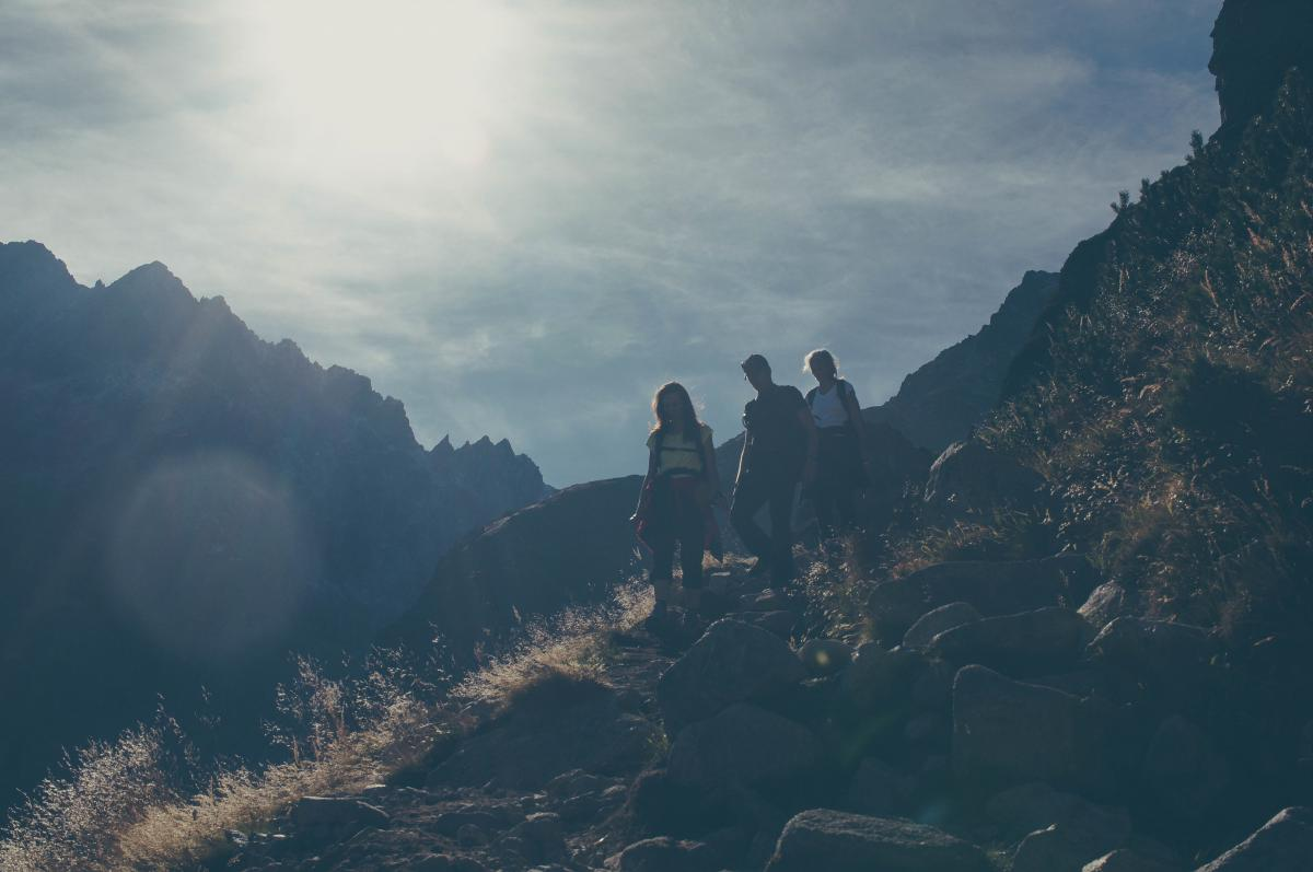 people hiking trekking