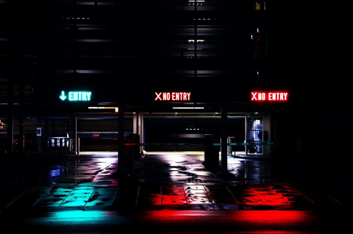 Parking garage entry no entry #24754