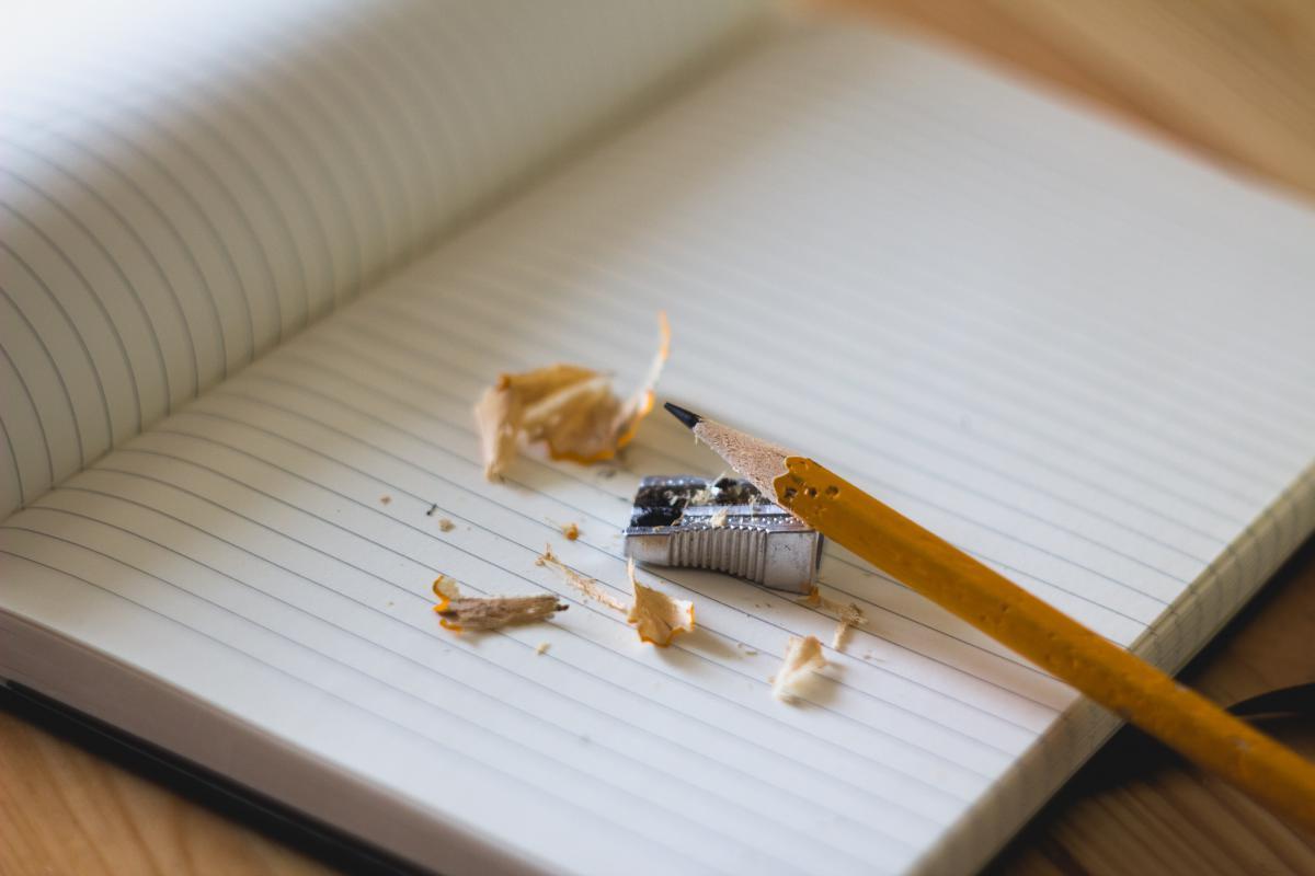 notebook paper pencil