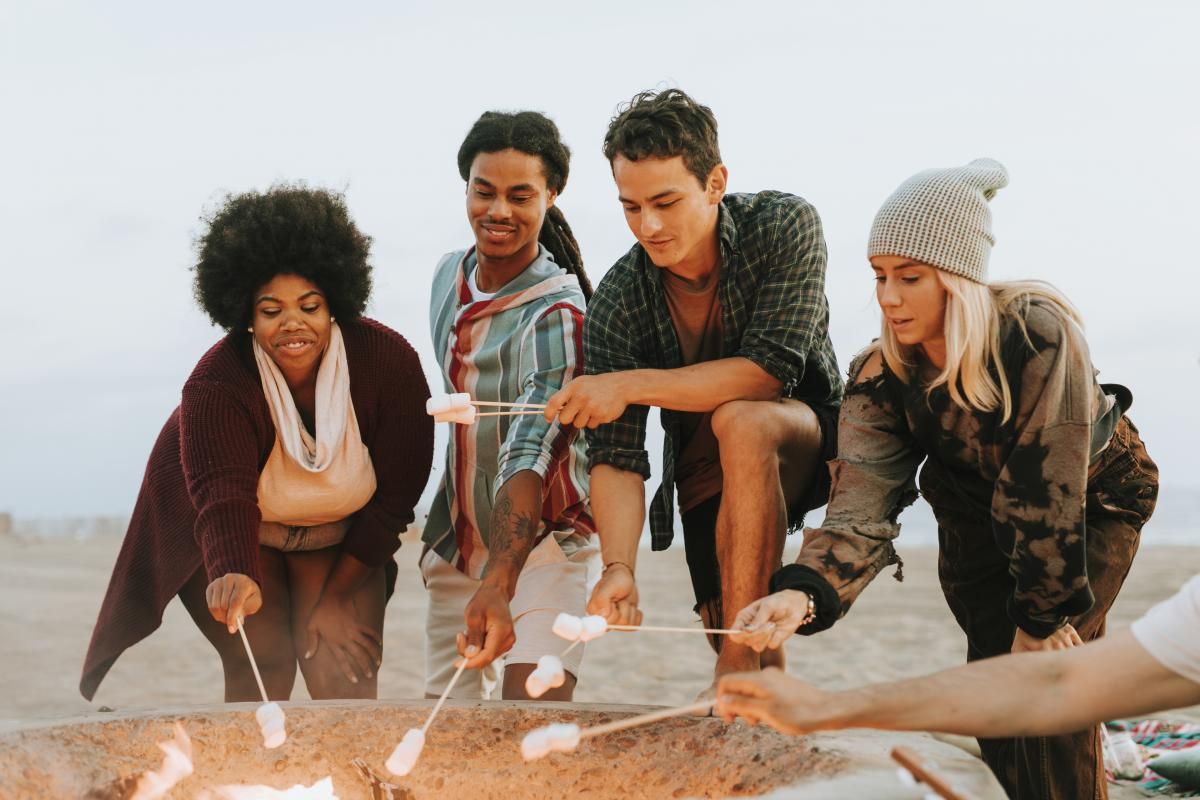 Group Of People Toasting Marshmallows On Stick