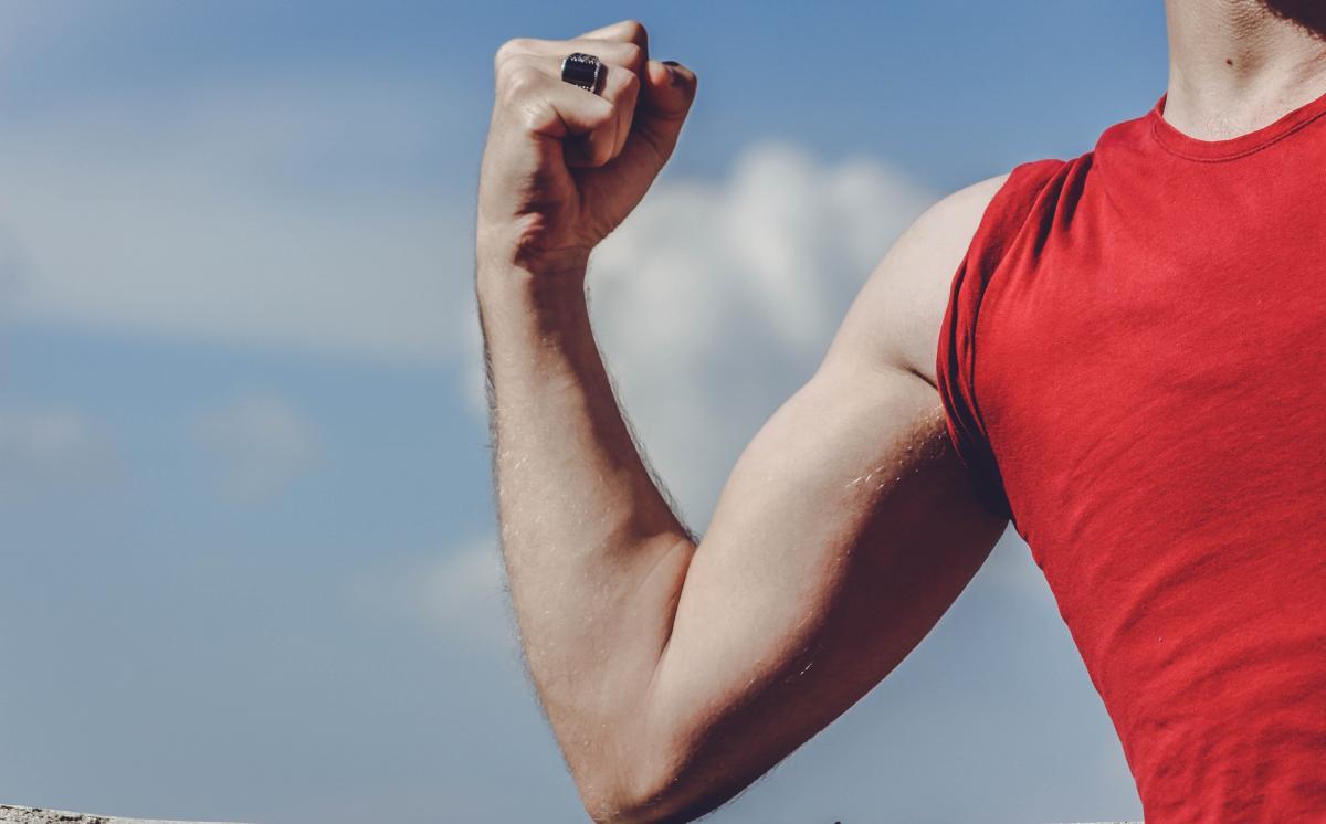 Man Raising His Right Arm #335551