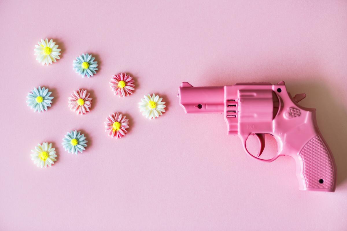 Pink Plastic Revolver Toy