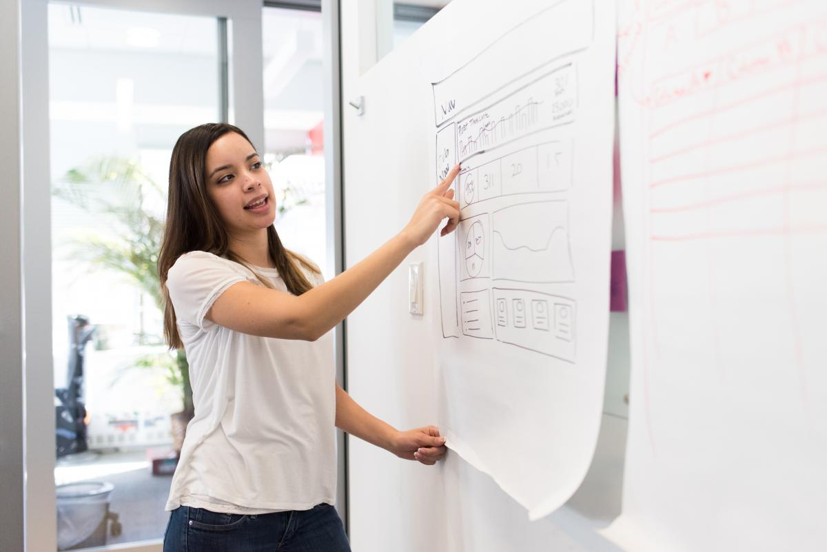 Woman Wearing White Shirt Standing Beside White Board While Pointing on White Paper #340960