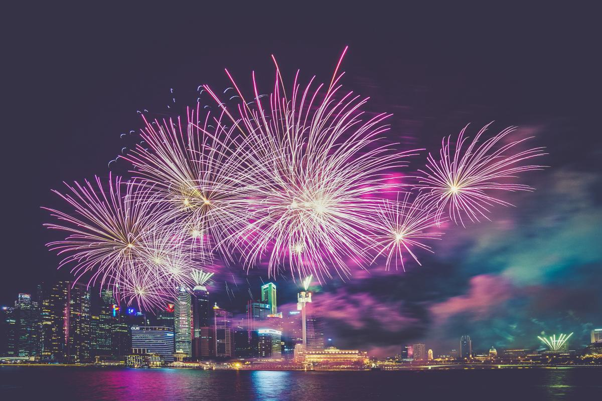 Purple and White Fireworks in the High Buildings #34229