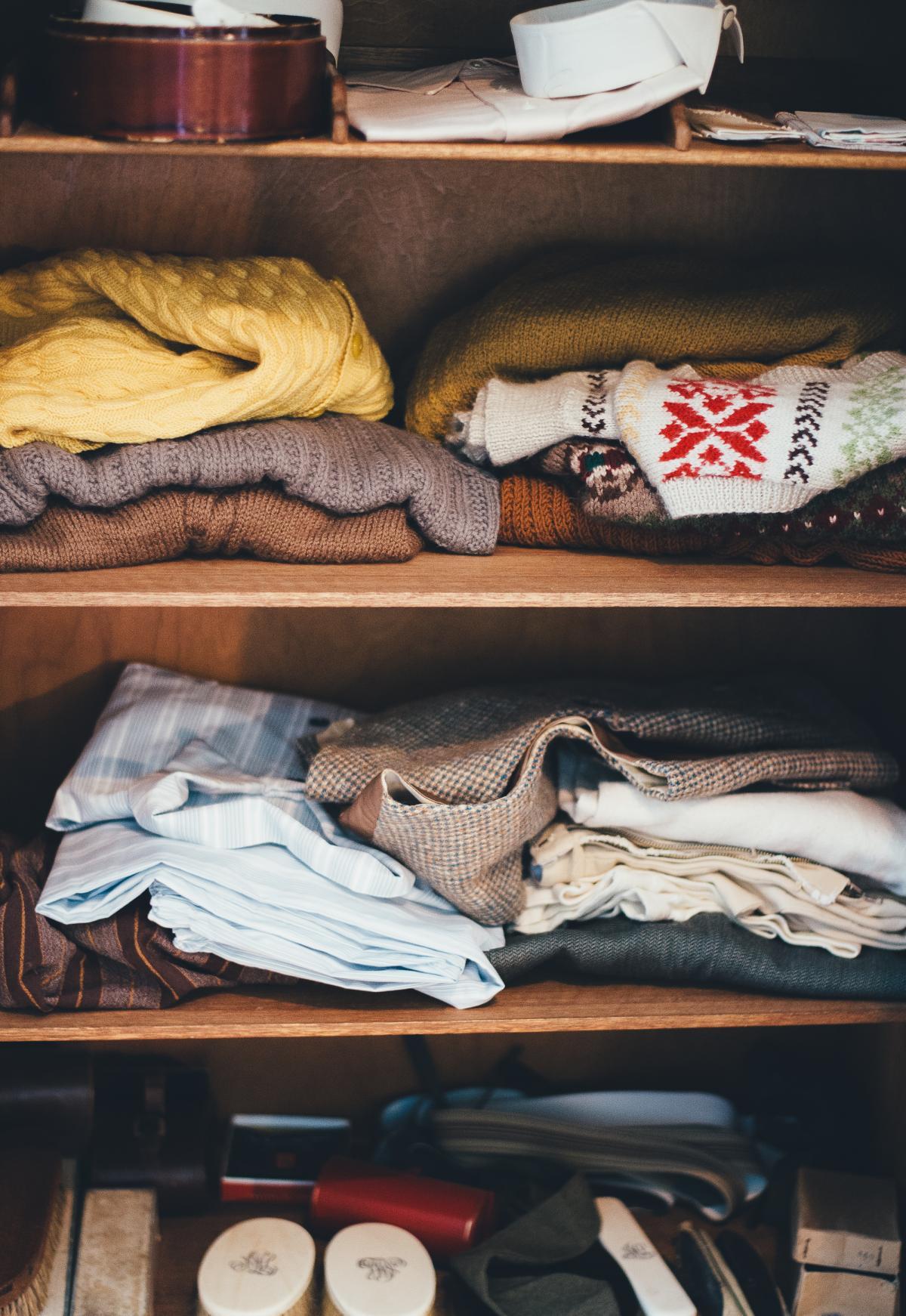Assorted Garments on Brown Wooden Wardrobe #34865