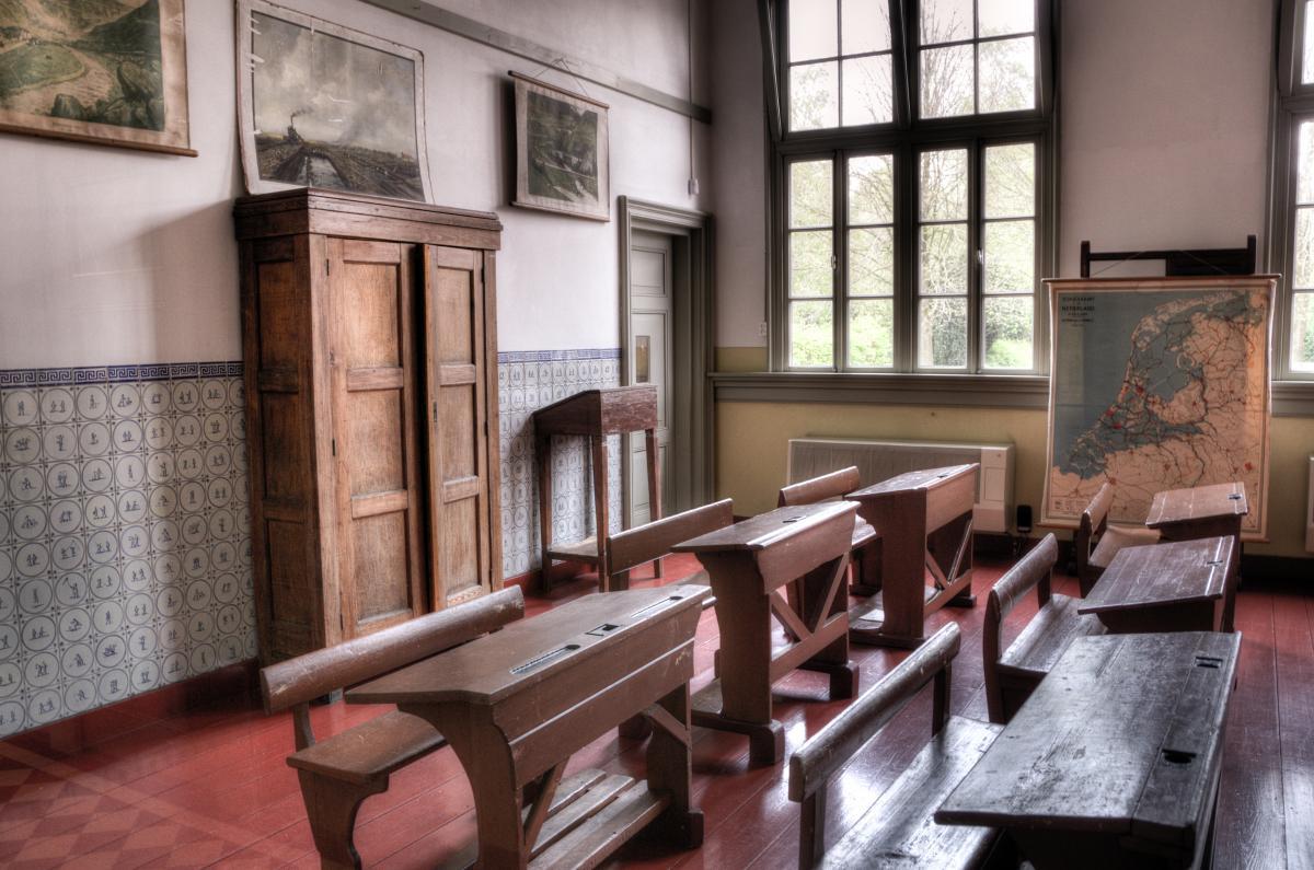 Wood houses school old