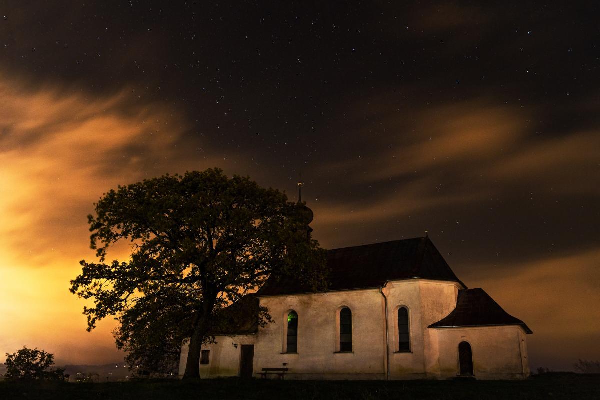 Night house stars church #37259