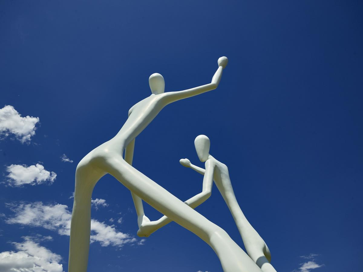 """Jonathan Borofsky's sculpture, """"The Dancers,"""" outside the Center for the Performing Arts in Denver. Original image from Carol M. Highsmith's America, Library of Congress collection."""