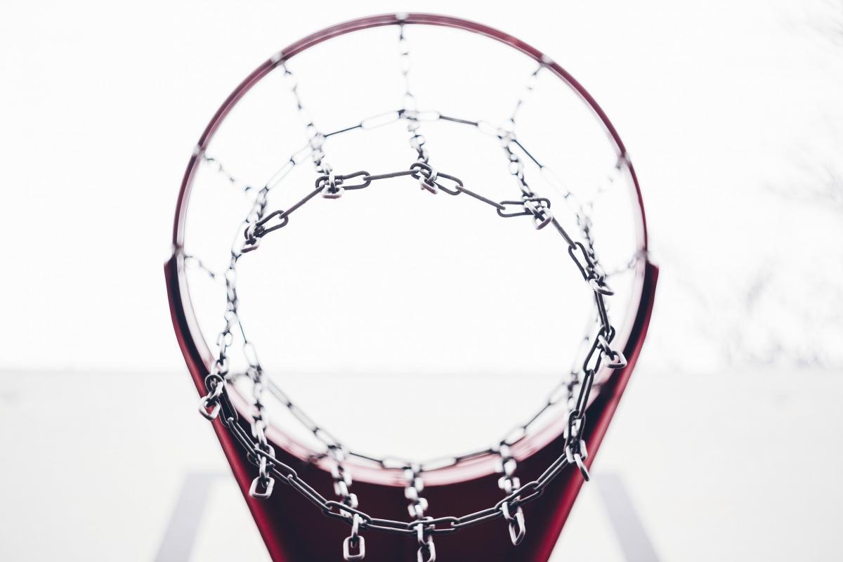 Basketball hoop and a backboard #384225