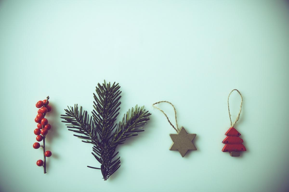 Christmas tree ornaments flat lay