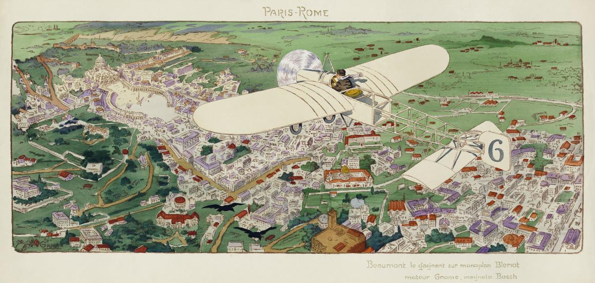 Paris-Rome. Beaumont le Gagnant sur Monoplan Bleriot, Moteur Gnome, Magneto Bosch (1911) by Ernest Montaut and his wife Magy (Gamy) Montaut. Original from Library of Congress.