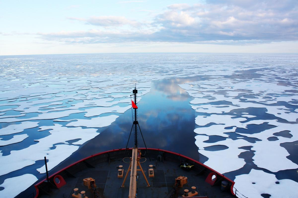 The U.S. Coast Guard Cutter Healy in the Beaufort Sea, northeast of Barrow, Alaska. Original from NASA .  #387001