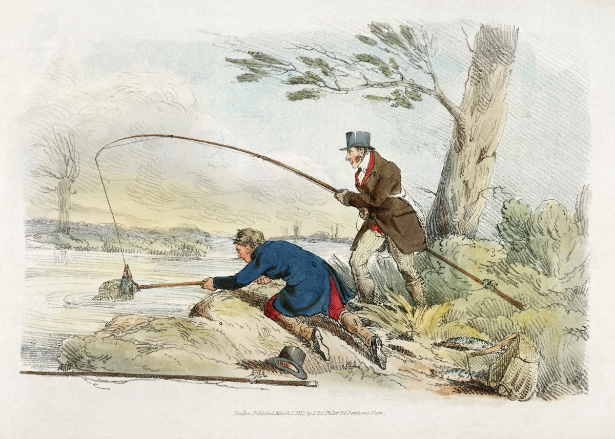 Illustration of fishing from Sporting Sketches (1817-1818) by Henry Alken (1784-1851). Original from The New York Public Library.  #387217