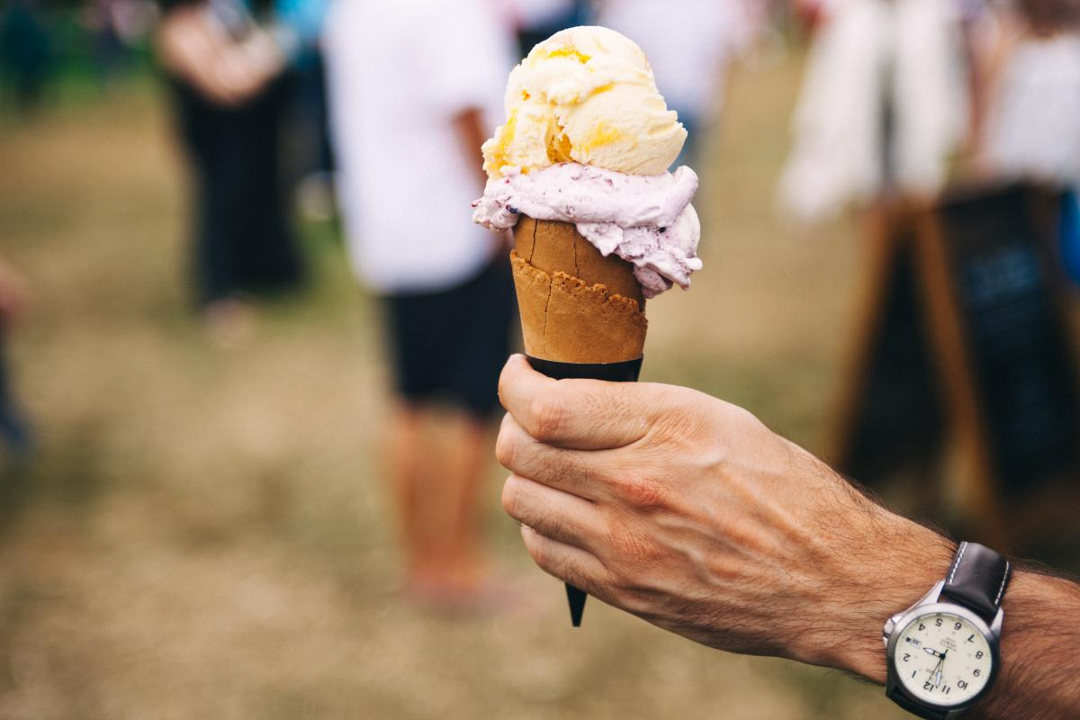 Person Holding Yellow and Purple Ice Cream #39161