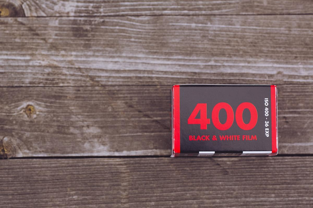 ISO 400 film roll on a wooden table