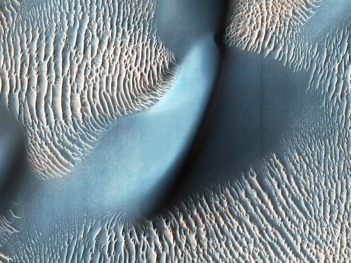 Sand dunes and ripples in Proctor Crater, Mars. Original from NASA.