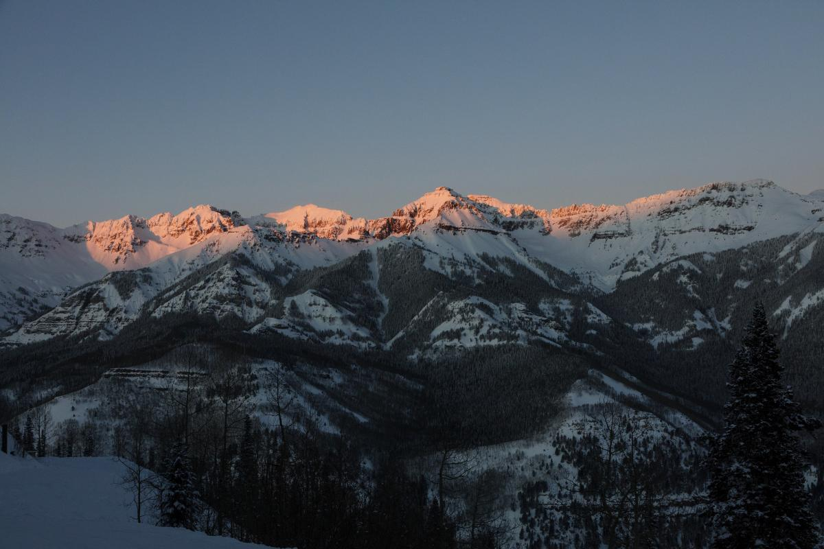 Mountain-sunset view from Telluride, once a mining boomtown and now a popular skiing destination in Colorado - Original image from Carol M. Highsmith's America, Library of Congress collection.  #393867