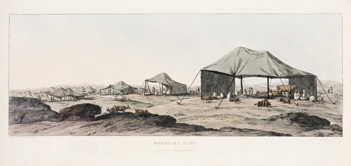 View of Bedoween Camp illustration from the kings tombs in Thebes by Giovanni Battista Belzoni (1778-1823) from Plates illustrative of the researches and operations in Egypt and Nubia (1820). Original from New York public library.  #396652