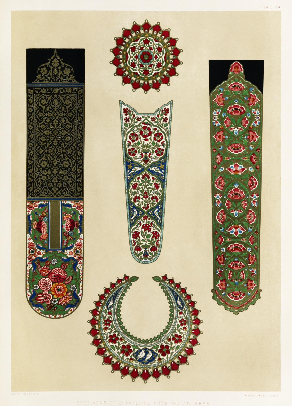 Specimens of enamelling from Indian arms from the Industrial arts of the Nineteenth Century (1851-1853) by Sir Matthew Digby wyatt (1820-1877).