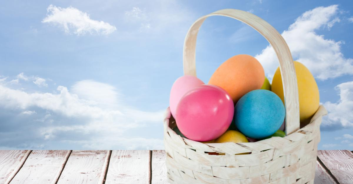 Easter eggs in front of blue sky #413655