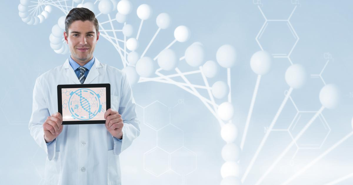 Doctor (men) showing with his tablet molecules graphic