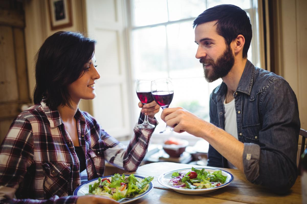 Couple toasting glasses of wine #415482