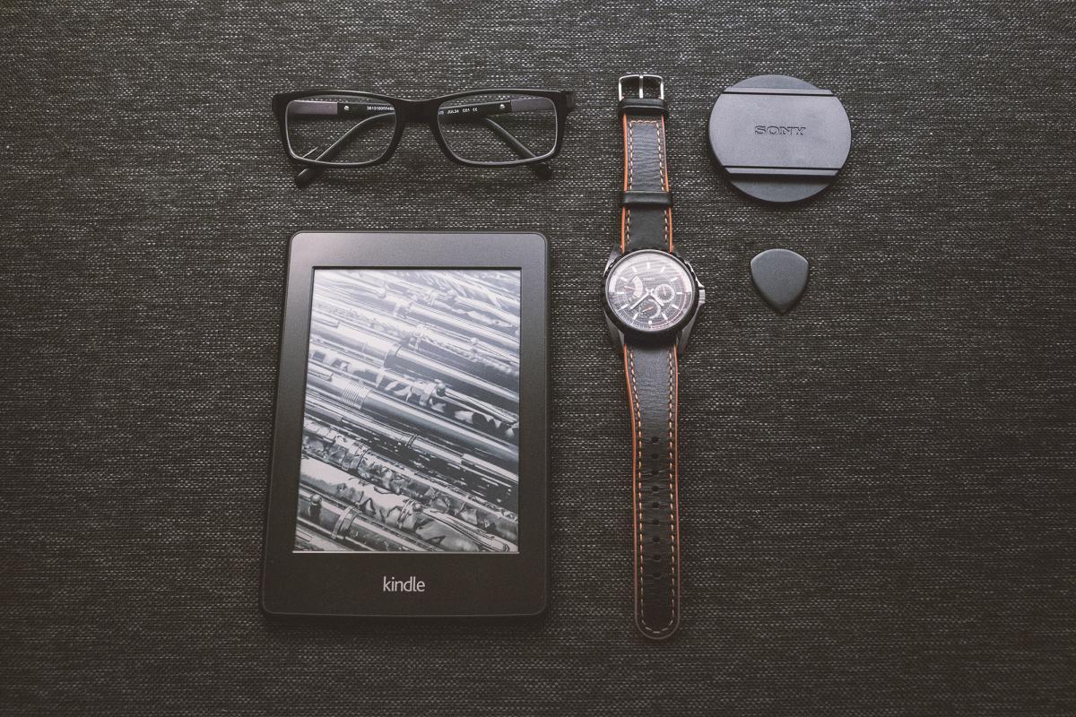 Black Kindle Tablet Turned on