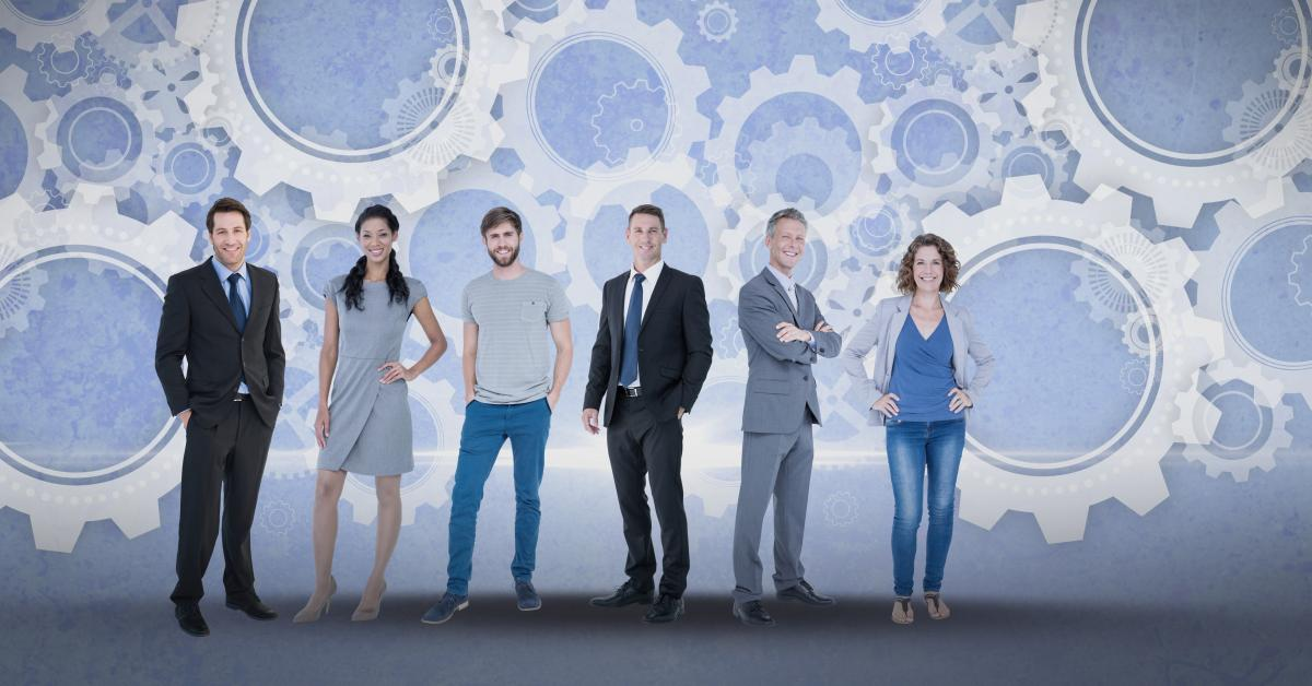 Digital composite image of business people with gears
