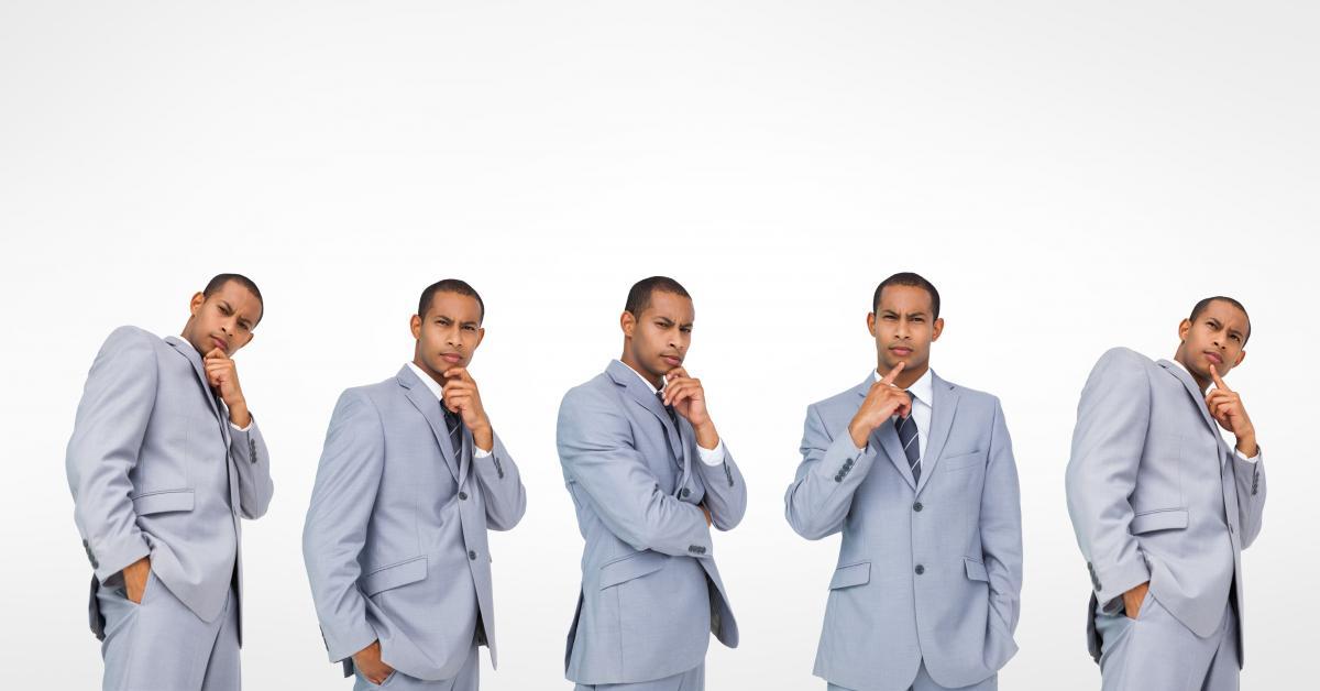 Multiple image of thoughtful businessman #417287