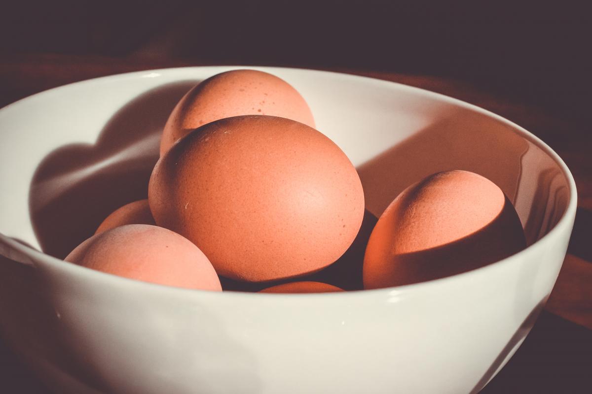 Brown Eggs in White Ceramic Bowl