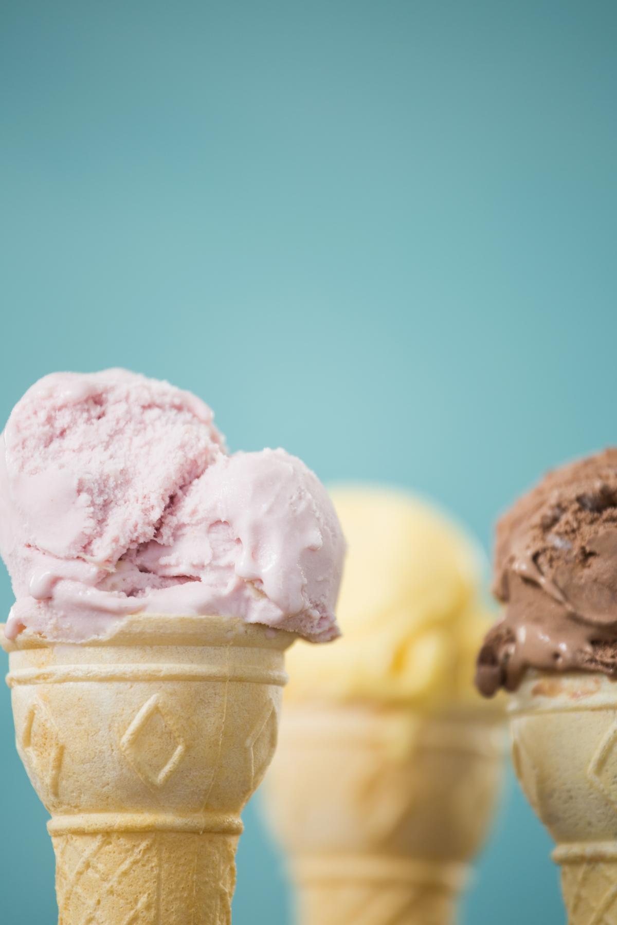 Close-up of strawberry ice cream cone