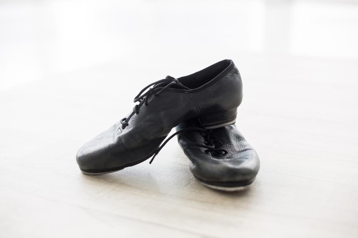 Dancing shoes on wooden floor