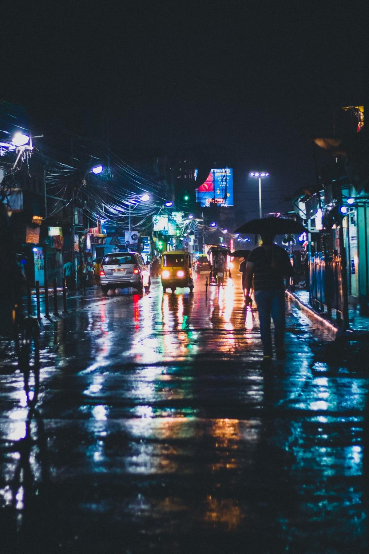 Street Lights Reflect On Wet City Streets In India #419434
