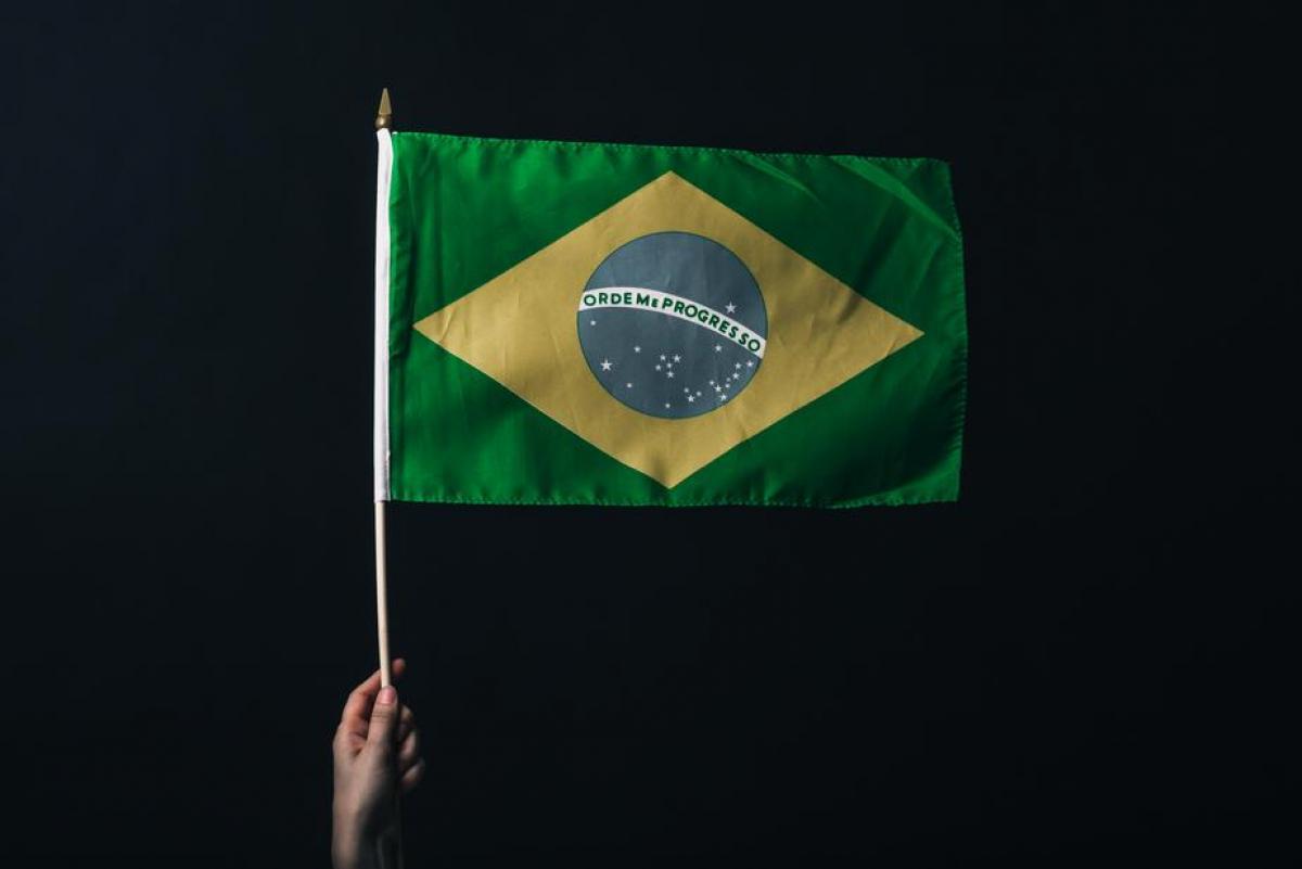 Brazilian Flag Against Black #420124