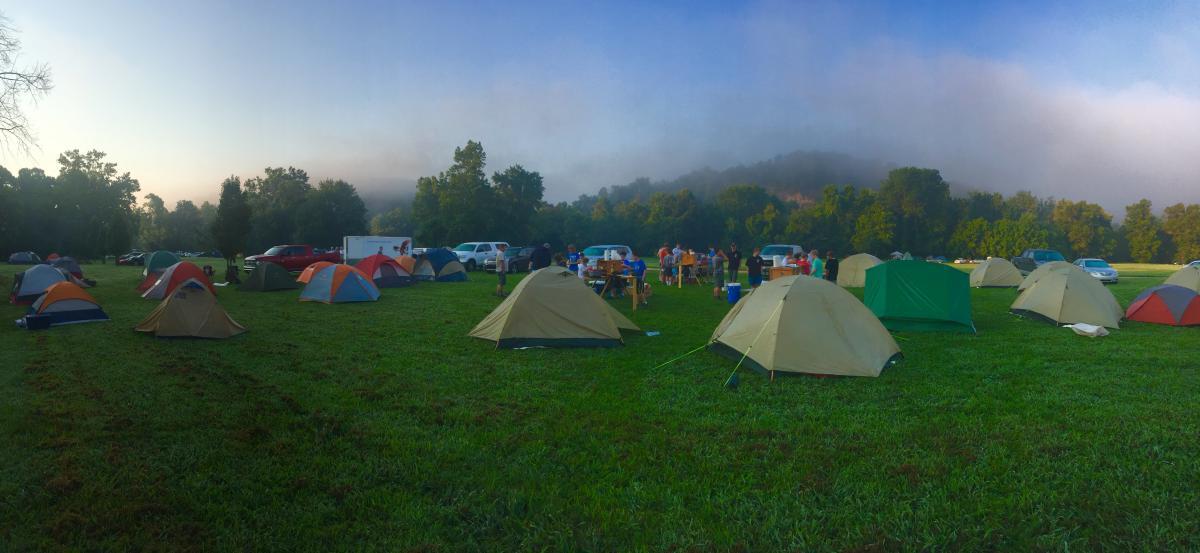 Tents on Green Grass Field Near Mountain #42268