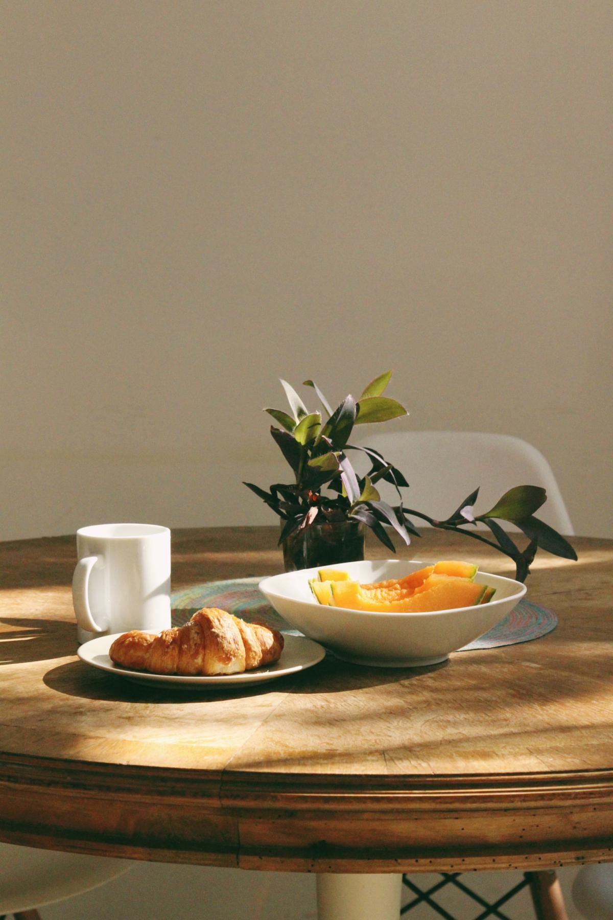 Croissant Bread Beside Mug #423366