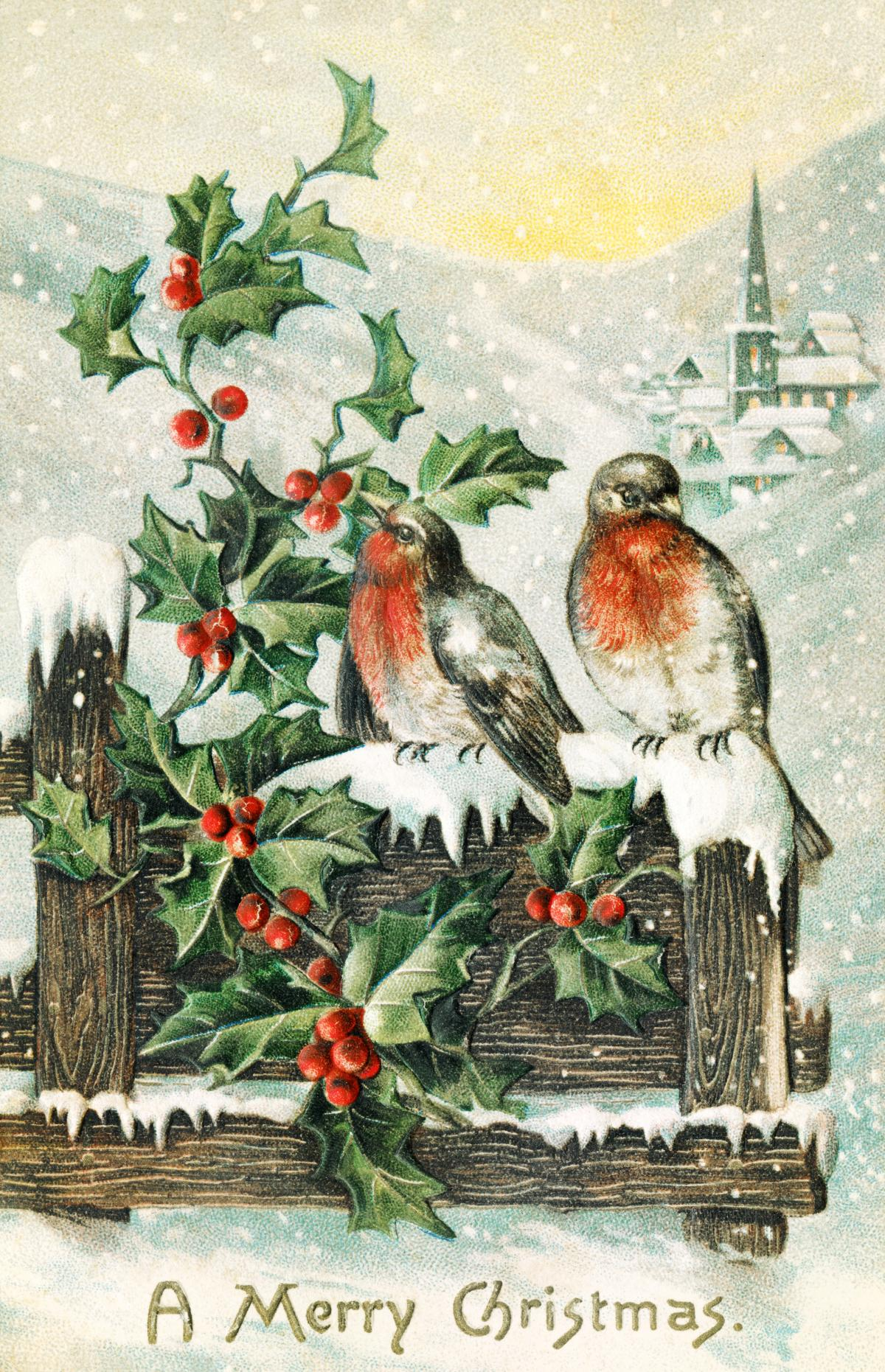 Vintage Christmas Postcard (1906) by P. Sander. Original from The New York Public Library.