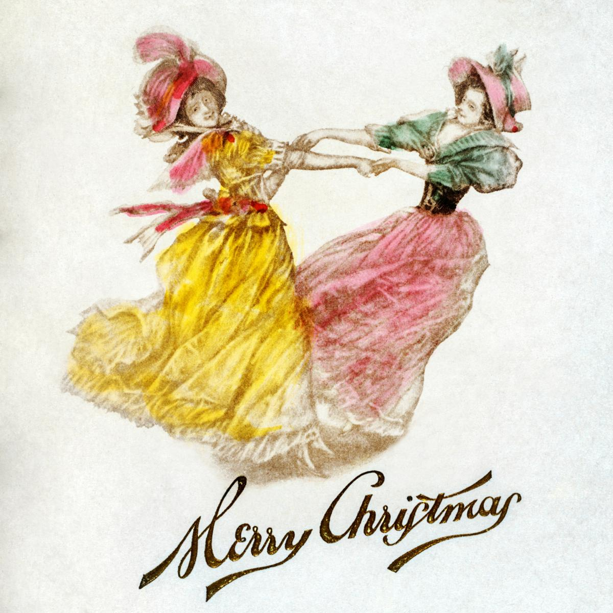Christmas Dinner Card with Women Dancing (1900) by Battery Park Hotel, Asheville, NYC. Original from The New York Public Library.