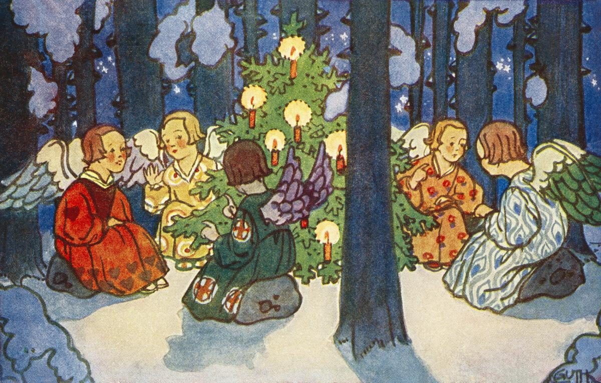 Vintage Christmas Postcard by Zdenek Guth. Original from The New York Public Library.